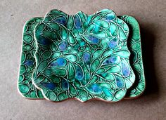 SET of TWO Ceramic Trinket Dish Jewelry Dish Pale peacock Green in gold