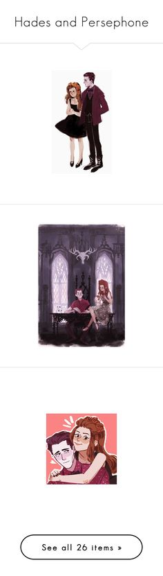"""""""Hades and Persephone"""" by the-reckless ❤ liked on Polyvore featuring fillers, fanart and illustrations"""