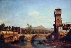 CAPRICCIO VENETOCON FIUME, PONTE E PORTA TURRITA MEDIEVALE  Bellotto-1740-olio su tela-Thyssen Bornemisza, Castagnola, Lugano.
