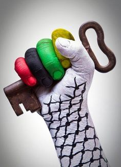 Palestine! (The key is a symbol of the right of return).