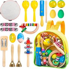 Innocheer Kids Musical Instruments with Backpack, 17 pcs Percussion Toy Rhythm Band Set, Toddler Wooden Musical Toys         -- Details can be found by clicking on the image. (This is an affiliate link) #MusicalInstruments
