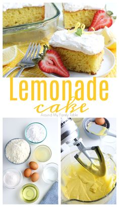 This Lemonade Cake is the perfect summer cake. Cool, creamy, and filled with an abundance of lemon flavor. via @slingmama