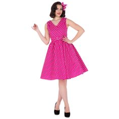 Dolly and Dotty retro šaty Wendy s puntíky, magentové 1950s Swing Dress, 1950s Skirt, Frocks, Rockabilly, Vintage Fashion, Vintage Style, Hot Pink, Polka Dots, Retro