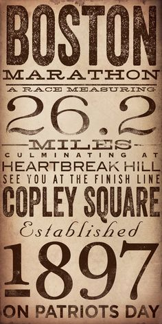 Boston Marathon original typography artwork by by geministudio