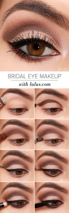 Whether you're a bride-to-be, or simply a lover of glamorous makeup looks, our Bridal Eye Makeup Tutorial will add an elegant touch to your special occasion! This lovely neutral eye includes shades of See more: https://www.bloglovin.com/blogs/luluscom-fashion-blog-4129471/lulus-how-to-bridal-eye-makeup-tutorial-4435912038