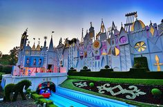 """Disney's """"Small world"""" attraction!! It is one of my favorite rides and according to an article I read, every hour (maybe 15 mins idr) a buch of little dolls come out and will start singing! So if that is true, it is also a glokenspiel!!"""