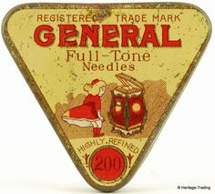 GENERAL brand gramophone needle tin.