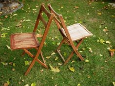 Old Wooden Fold Up Chairs