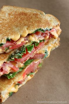 Bacon Lettuce and Tomato Grilled Cheese Sandwiches. The classic Grilled Cheese Sandwich just-grew-up! Crunchy bacon - flavorful lettuce - and juicy tomatoes are added to send this sandwich over the top! Bacon Dishes, Grilled Cheese Recipes, Grilled Cheeses, Gormet Grilled Cheese, Grilled Cheese With Tomato, Grilled Food, Soup And Sandwich, Tomato Sandwich, Lettuce Sandwich