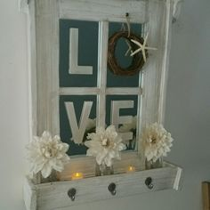 Rustic, mirrored window pane with flower box wall decor.  Beachy LOVE design with burlap flowers in glass milk bottle vases.  Includes 2 battery po... image 1