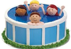 Heads Up In The Pool Cake - Enjoy easy summer living serving a novel swimming pool cake. This great seasonal look is quick to create with our ready-made Boy and Girl Cupcake Toppers. Pool Party Cakes, Pool Cake, Girl Cupcakes, Cupcake Cookies, Cupcake Toppers, Fancy Cakes, Cute Cakes, Beautiful Cakes, Amazing Cakes