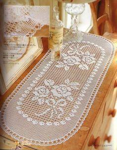 Ideas for crochet patrones tapetes Filet Crochet, Crochet Chart, Thread Crochet, Irish Crochet, Crochet Table Runner Pattern, Crochet Doily Patterns, Crochet Tablecloth, Crochet Designs, Crochet Dollies
