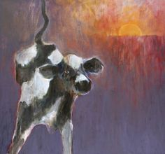 Mel McCuddin, Hurry Home, 2006 oil on… Bug Art, Sculpture Painting, Dog Paintings, Figure Painting, Cows, Spirit Animal, Cattle, Farm Animals, American Art