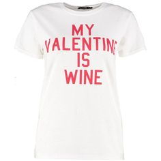 Boohoo Amber My Valentine Is Wine Tee | Boohoo ($11) ❤ liked on Polyvore featuring tops, t-shirts, white tee, jersey t shirt, white cotton camisole, white cami and cotton t shirts