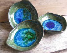 Recycled Glass Green Pottery Leaf; Medium Size; North Carolina Pottery; Ready-to-Ship