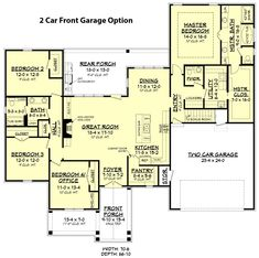 Rambler with bonus room above garage large size of cypress lake house plan bonus rooms open . Brick House Plans, Lake House Plans, Shop House Plans, Modern House Plans, 1 Story House, House Plans One Story, Room Above Garage, European Plan, European Style