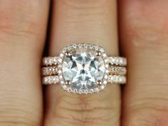 Barra 9mm 14kt Rose Gold Round White Topaz Cushion And Diamonds Halo Trio Wedding Set Other Metals Stone Options Available