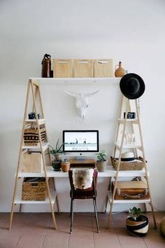 45 DIY Bookshelves: Home Project Ideas That Work ladder bookshelf and desk diy