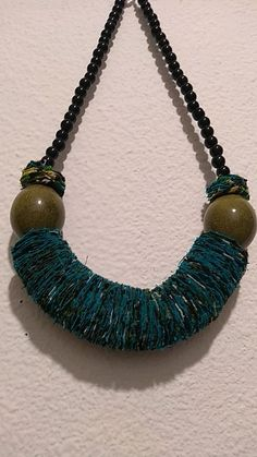 Collier Turquoise, Turquoise Necklace, Artisanal, Tassel Necklace, Inspiration, Jewelry, Fashion, Green Necklace, Wooden Necklace