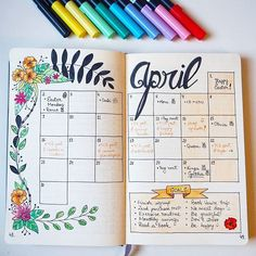Goodbye April . Took your advice and colored the monthly spread for April in my bullet journal . #thecraftdesk #goodbyeapril #bujo #bulletjournal #april #spring #springtime #springishere #doodle #springhassprung #lettering #handlettering #caligraphy #moleskine #journaling #monthlyspread #bulletjournaling #bujonewbie #bujo2018 #bujoinspo #bujospread #bujolove #calendar #bulletjournalinspiration #creativejournal #journaltherapy #creative #planner