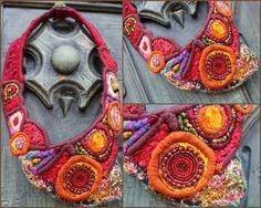 Collier textile, par Fée moi un cygne - Textile jewel art, by French creator -