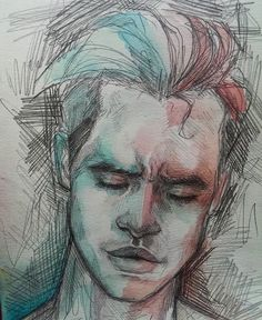 """So when I first saw this I'm like, """"oh this must be brendon . """" and I look at the description and, sure enough, it says Brendon urie fanart and then I said, """"oh I shouldnt have doubted myself! Nobody could have that big of a forehead. Only Brendon urie can."""" And that's that. The End."""