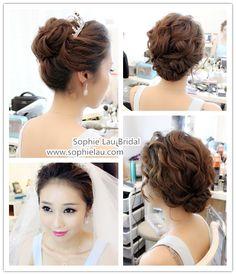 Pretty Asian Wedding Updo Hairstyles Ideas - New Site Asian Hair And Makeup, Asian Wedding Makeup, Wedding Makeup Tips, Bridal Hair And Makeup, Wedding Updo, Wedding Beauty, Hair Makeup, Korean Makeup, Wedding Hair Inspiration
