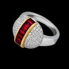 18K White Gold Ring, Rubies(1.98cttw) channel set in 18KY Gold and Diamonds (.92cttw) pav