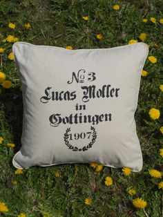 French Script hand stenciled pillow by GreenMountainBoHo on Etsy, $35.00