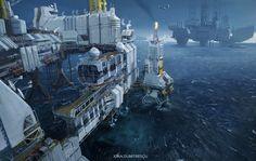 Oil rigs by jonone.deviantart.com on @DeviantArt
