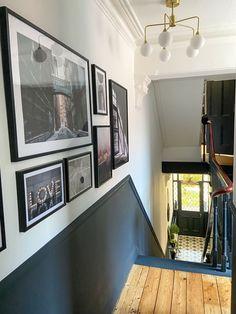 Dado Rail Hallway, Hallway Paint, Dark Hallway, Upstairs Hallway, Modern Hallway, Hallway Walls, Entrance Hall Decor, Hallway Ideas Entrance Narrow, Ideas For Hallways