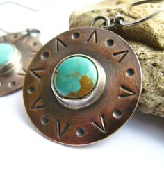 Artisan Mixed Metal Sterling Silver, Copper And Turquoise Earrings Southwest Inspired Metal And Gemstone Metalsmith Jewelry. $68.00, via Etsy.