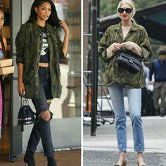 Das ruas, dois looks super fashion com a tendência #militaryprint!♥️💥 Ambas usam jaquetas com toques de militarismo, todavia, a Elsa veste um look menos despojado, com toques retrô do óculos e da sapatilha. #creative #fashion #style #chaneliman #elsahosk
