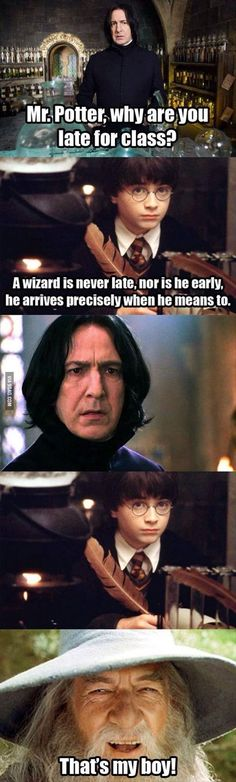 Harry Potter / Lord of The Rings mash. I have not seen Harry Potter nor am I interested in it but I thought this was pretty funny! <---- One does not simply not be interested in Harry Potter Memes Do Harry Potter, Harry Potter Fandom, Sassy Harry Potter, Harry Potter Quotes Dumbledore, Gandalf Quotes, Potter Facts, Hogwarts, Slytherin, Harry Potter Francais