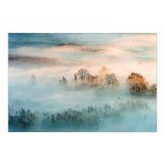 East Urban Home Glasbild Nebel bei Sonnenaufgang Graphic Art, Sunrise, Urban, Glass, Painting, Inspiration, Fine Art, Magic, Art