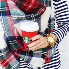 red and blue plaid blanket scarf and stripes with starbucks // everyday winter style