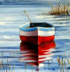 """""""Study of Rowboat Reflection"""" - Original Fine Art for Sale - © Christina Dowdy -- Exhibiting works at 4th Annual Carolina Art Soiree in Charlotte May 2, 2013. www.carolinaartsoiree.com."""