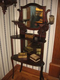 Antique Victorian 3 Tiered Etagere Walnut with 2 Mirrors Circa 1900'S