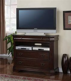 Karla Traditional Cherry Wood Metal TV Chest