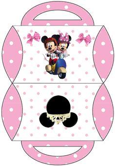 Minnie y Mickey en Moto: Cajas Almohada para Imprimir Gratis.