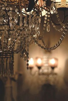 Chandelier detail with strands of macaroni crystal beads Chandelier Bougie, Chandeliers, Chandelier Lighting, Antique Chandelier, Statues, Bling, Fancy, Light Up, Landscaping