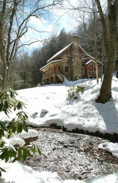 Ridge Mountains Cabin in NC, Sleepy Creek-Antique Log Cabin on Beautiful Stream Near Boone