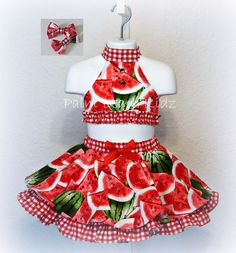 Sweet watermelon theme cotton print halter top and double layer twirl skirt.  Great for pageants, parties, and more!  Halter top ties in the back, and circular twirl skirt has fishline hem on top layer and underskirt has ruffled trim.