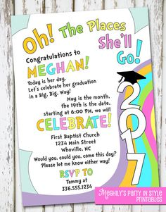 Oh, The Places You'll Go - graduation invitation