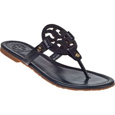 TORY BURCH Miller Thong Sandal Navy Patent ($195) ❤ liked on Polyvore