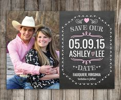 25 Chalkboard Save the Date Magnets Cards by LittleBeesGraphics