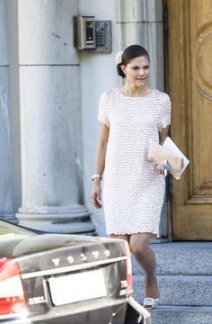 Crown Princess Victoria of Sweden wears a Mayla dress with shoes by Roger Vivier to the memorial for her beloved aunt Princess Lilian 9/8/2013