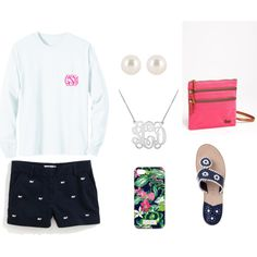Preppy comfy summer outfit, tshirt, chino shorts, Jack Rogers, and lilly phone case