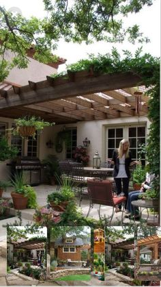 Take on a backyard project by building stylish pergola plans a structure traditionally meant to provide shade with the vines growing overhead. In this idea a wood pergola is designed in an l shaped style which works to shade and . Beautiful Backyards, Rustic Patio Furniture, Garden Design, Pergola Designs, Country Patio, Patio Design