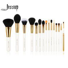 Jessup pro 15 adet makyaj fırçalar seti pudra fondöten göz farı eyeliner dudak fırçası aracı beyaz ve altın
